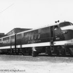Alexandria, Virginia Terminal Yard, 7/13/1946; Thi is (4103 A&B) of 4 unit demonstrator (E.M. Corp) 2700 HP; First freight diesel locomotive on Southern Railway;  C/N EMC #2665  4 units 5400 HP; 12/20/1944.