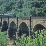 This historic viaduct across the Patuxent River was completed by the B&O railroad in 1835 and was supposed to last just ten years. It is still in service today carrying heavy freight and passenger trains.  Circa 1954 photo from Lee Rogers Collection.
